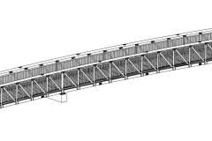 Radwegbrücke aus Aluminium, 28 m lang.